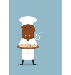 Black chef carrying vegetarian pizza on tray vector