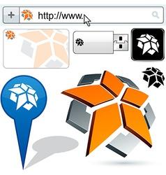 Business pentagon abstract logo design vector