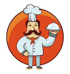 cartoon character - chef cook with plate vector image vector image
