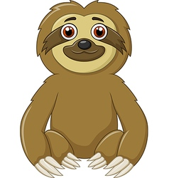 Cartoon funny sloth animal sitting vector