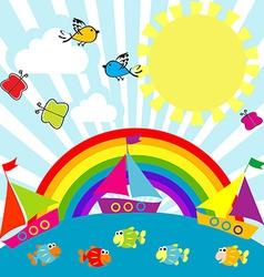 Cartoon sailing boats vector image vector image