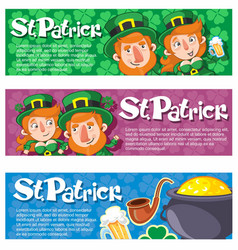 Cartoon saint patrick day horizontal banners vector