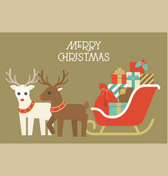 christmas reindeer and pile of present boxes vector image vector image