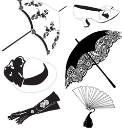 collection of vintage accessories vector image vector image