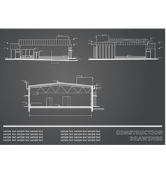 construction drawings engineering background vector image vector image