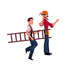 Construction worker builder in jumpsuit going vector