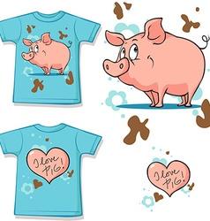 Cute bunny with heart shirt vector