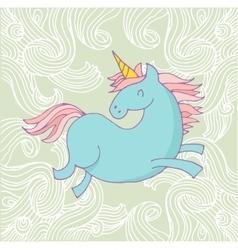 Cute magic unicon and rainbow poster card vector