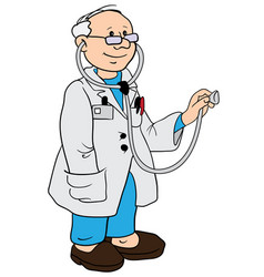 doctor contour stand view eps 10 vector image