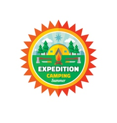 Expedition camping summer - badge vector