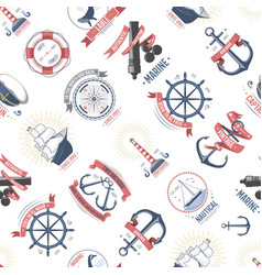 fashion nautical marine sailing sea seamless vector image vector image