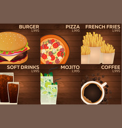 fast food restaurant menu on wood background vector image