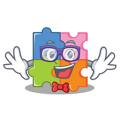 geek puzzle character cartoon style vector image