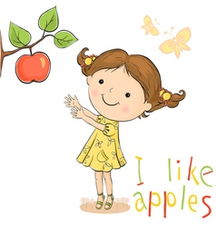 Girl and apple vector