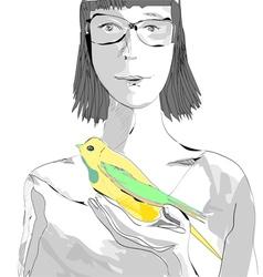 girl with a bird vector image vector image