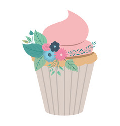 hand drawing color cupcake with pink buttercream vector image vector image