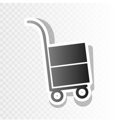 Hand truck sign new year blackish icon on vector