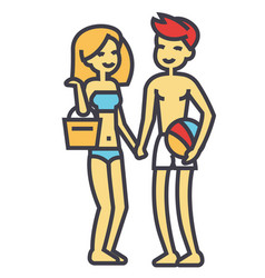 Happy beach couple in beachwear young woman and vector