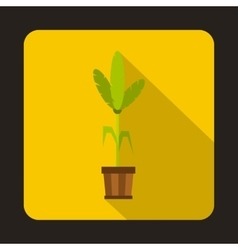 House plant in pot icon flat style vector