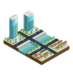 Isometric skyscrapers and suburban houses vector
