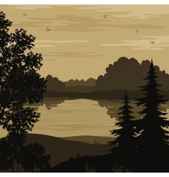 Landscape trees and river silhouette vector image