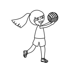 Little girl playing volleyball vector