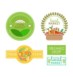 logo design template with fruit and vegetable vector image