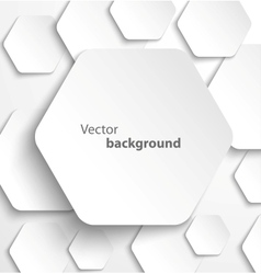 Paper hexagon banner with drop shadows vector
