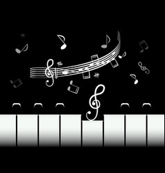 piano keys with staff and notes black and white vector image vector image