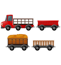 Pick up truck and different design of carts vector