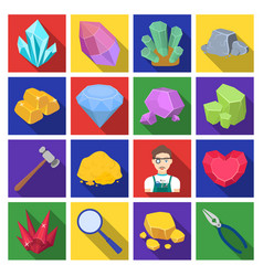 Precious minerals and jeweler set icons in flat vector