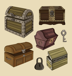 set of chest vector image