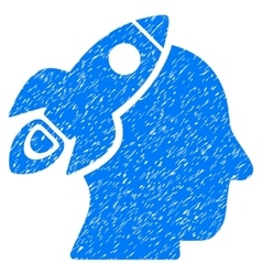 Space Rocket Thinking Head Grainy Texture Icon vector image vector image