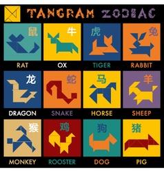 Tangram Zodiac Color vector image