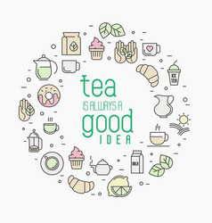 Thin line of tea tea vector