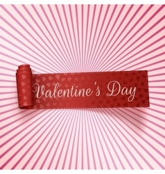 Valentines Day realistic red greeting Ribbon vector image