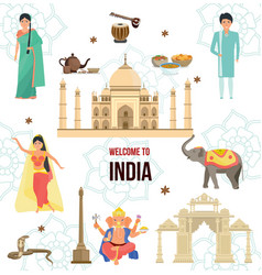 welcome to india traveling architecture vector image