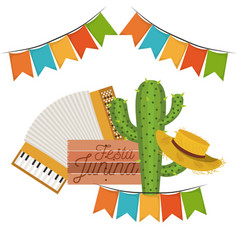 White background with cactus and hat and accordion vector