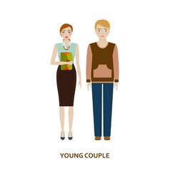 young couple character family without children vector image