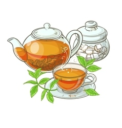 Cup with teapot and sugar bowl vector