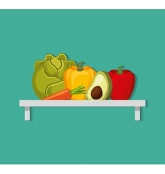 Grocery store set icons vector