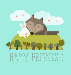 Happy friends in the forest wolfrabbit vector