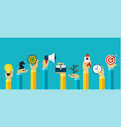 Hands with motivating icons to achieve the goal vector