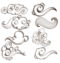 set of abstract wavy elements hand drawn sketch vector image