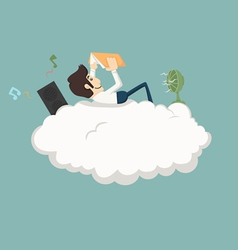 Businessman resting on a cloud vector