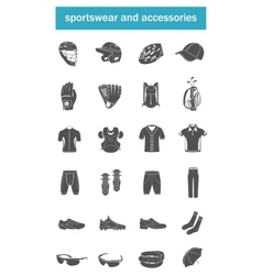 Set of icons sports accessories clothes vector