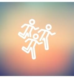 Marathon runners thin line icon vector image