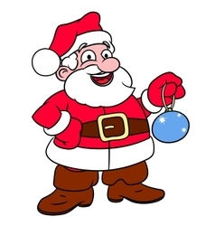 Santa claus holding christmas tree ball vector