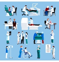 Medical care people fllat icons set vector