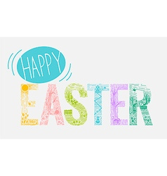 Easter inscription linear style vector